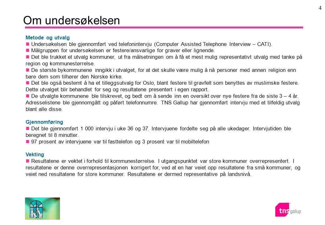 4 Om undersøkelsen Metode og utvalg Undersøkelsen ble gjennomført ved telefonintervju (Computer Assisted Telephone Interview – CATI). Målgruppen for u
