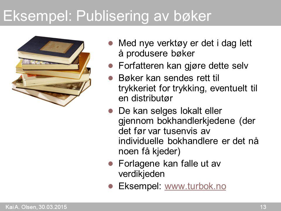 Kai A. Olsen, 30.03.2015 13 Eksempel: Publisering av bøker Med nye verktøy er det i dag lett å produsere bøker Forfatteren kan gjøre dette selv Bøker