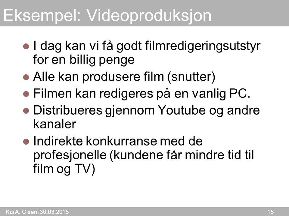 Kai A. Olsen, 30.03.2015 15 Eksempel: Videoproduksjon I dag kan vi få godt filmredigeringsutstyr for en billig penge Alle kan produsere film (snutter)