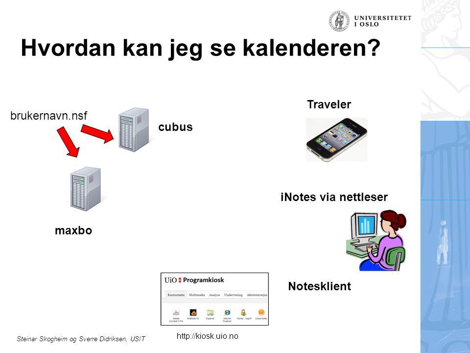Steinar Skogheim og Sverre Didriksen, USIT Hvordan kan jeg se kalenderen? Notesklient iNotes via nettleser cubus maxbo brukernavn.nsf Traveler http://