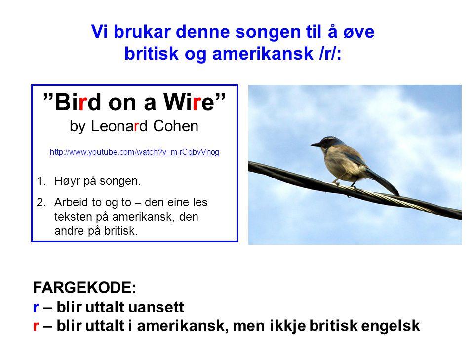 Vi brukar denne songen til å øve britisk og amerikansk /r/: FARGEKODE: r – blir uttalt uansett r – blir uttalt i amerikansk, men ikkje britisk engelsk Bird on a Wire by Leonard Cohen http://www.youtube.com/watch?v=m-rCqbvVnog 1.Høyr på songen.