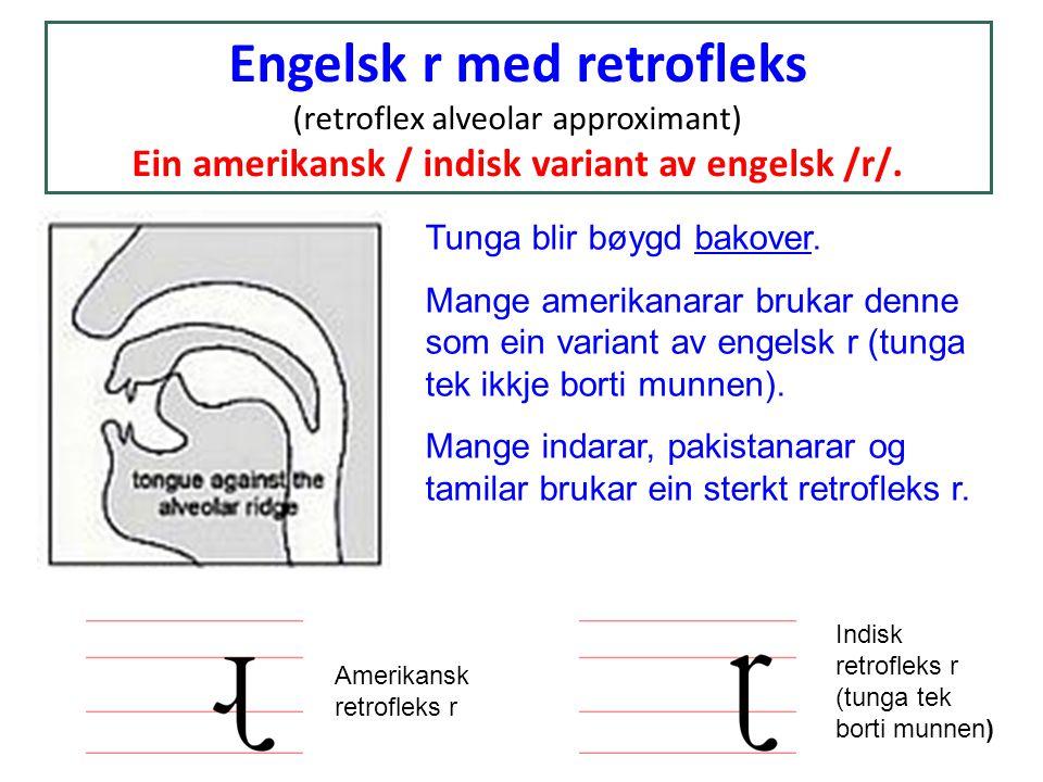Engelsk r med retrofleks (retroflex alveolar approximant) Ein amerikansk / indisk variant av engelsk /r/. Tunga blir bøygd bakover. Mange amerikanarar