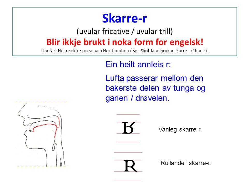 Skarre-r (uvular fricative / uvular trill) Blir ikkje brukt i noka form for engelsk! Unntak: Nokre eldre personar i Northumbria / Sør-Skottland brukar