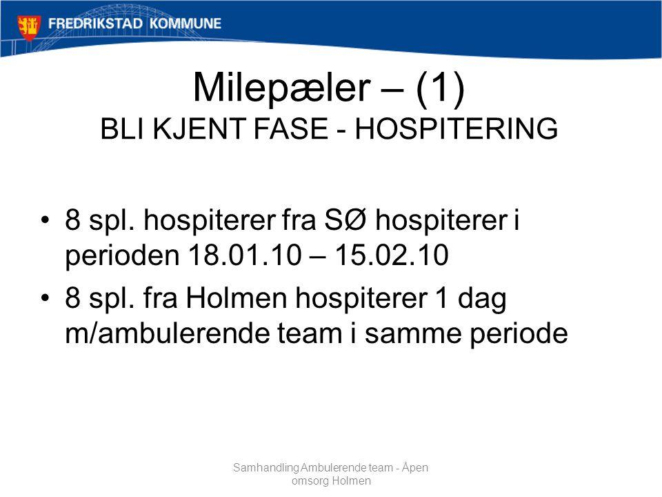 Milepæler – (1) BLI KJENT FASE - HOSPITERING 8 spl.
