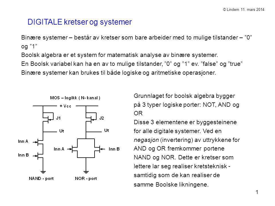 """1 DIGITALE kretser og systemer Binære systemer – består av kretser som bare arbeider med to mulige tilstander – """"0"""" og """"1"""" Boolsk algebra er et system"""