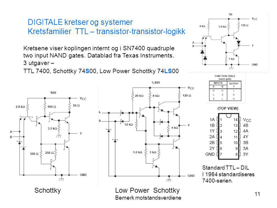 11 DIGITALE kretser og systemer Kretsfamilier TTL – transistor-transistor-logikk Kretsene viser koplingen internt og i SN7400 quadruple two input NAND