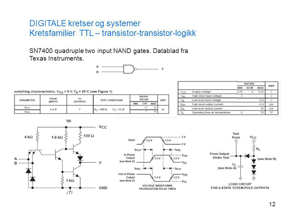 12 DIGITALE kretser og systemer Kretsfamilier TTL – transistor-transistor-logikk SN7400 quadruple two input NAND gates. Datablad fra Texas Instruments