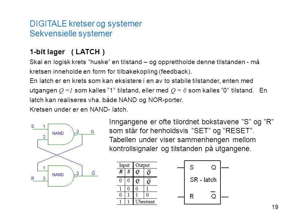"""19 DIGITALE kretser og systemer Sekvensielle systemer 1-bit lager ( LATCH ) Skal en logisk krets """"huske"""" en tilstand – og opprettholde denne tilstande"""