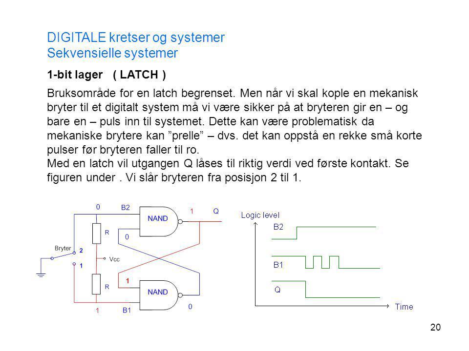 20 DIGITALE kretser og systemer Sekvensielle systemer Bruksområde for en latch begrenset. Men når vi skal kople en mekanisk bryter til et digitalt sys