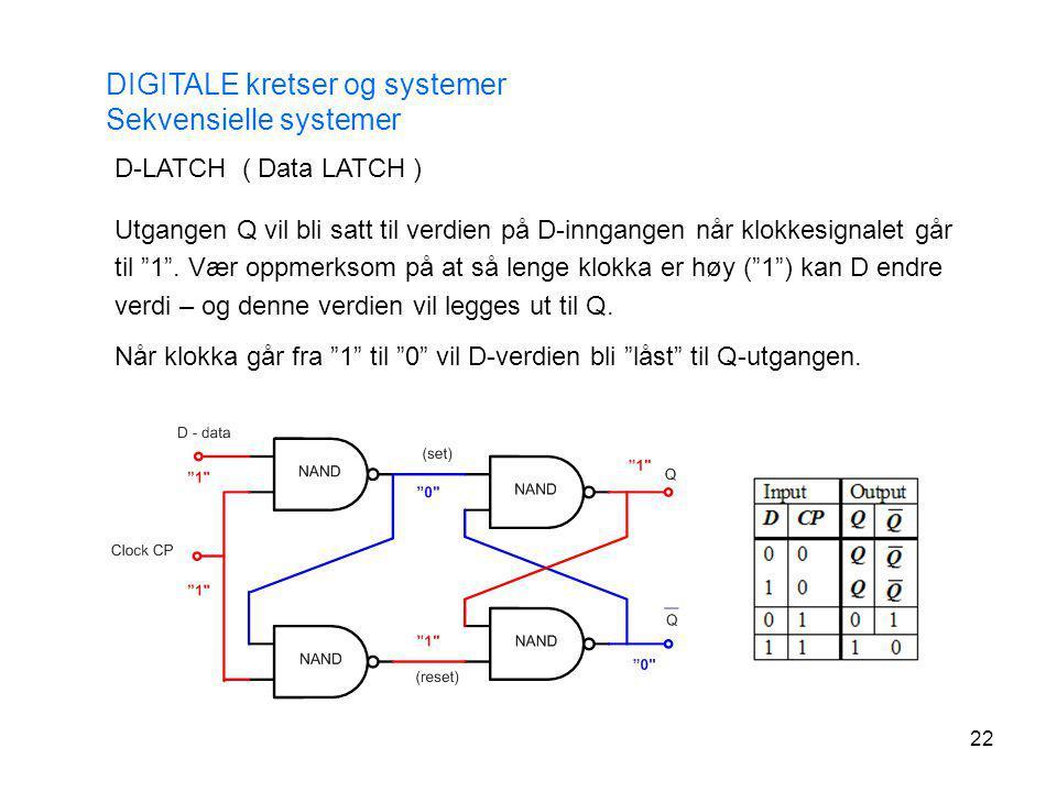 22 DIGITALE kretser og systemer Sekvensielle systemer D-LATCH ( Data LATCH ) Utgangen Q vil bli satt til verdien på D-inngangen når klokkesignalet går