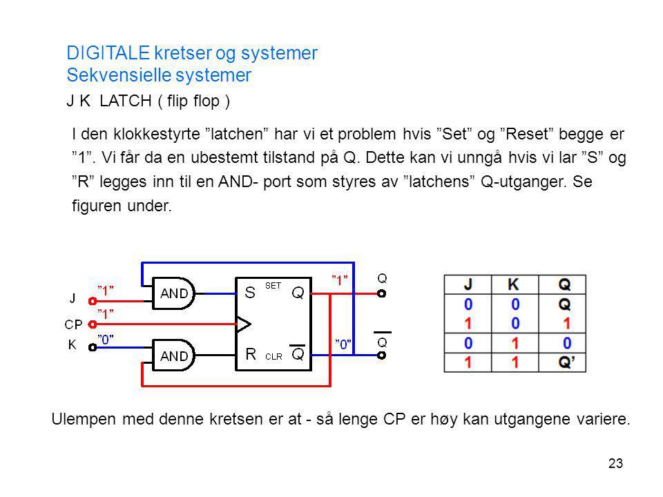 """23 DIGITALE kretser og systemer Sekvensielle systemer J K LATCH ( flip flop ) I den klokkestyrte """"latchen"""" har vi et problem hvis """"Set"""" og """"Reset"""" beg"""