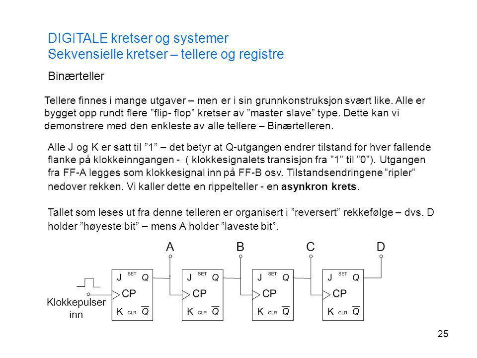 25 DIGITALE kretser og systemer Sekvensielle kretser – tellere og registre Binærteller Tellere finnes i mange utgaver – men er i sin grunnkonstruksjon
