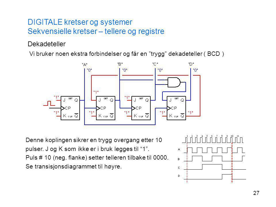 """27 DIGITALE kretser og systemer Sekvensielle kretser – tellere og registre Dekadeteller Vi bruker noen ekstra forbindelser og får en """"trygg"""" dekadetel"""