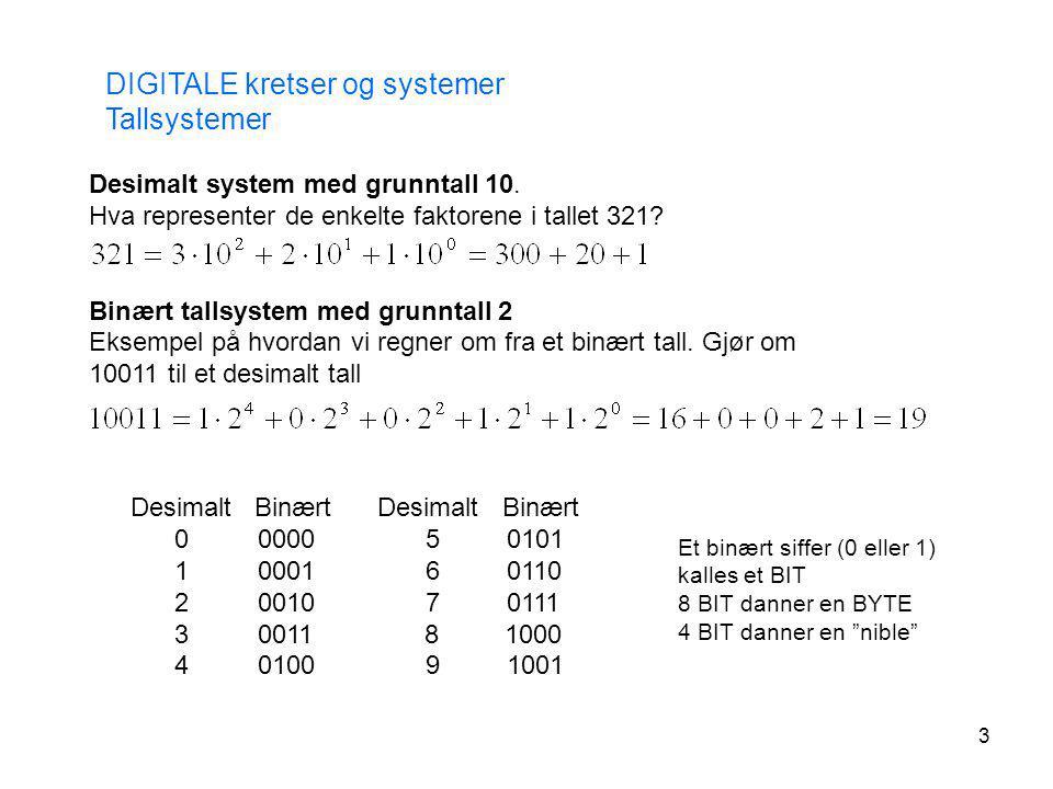 3 Desimalt system med grunntall 10. Hva representer de enkelte faktorene i tallet 321? Binært tallsystem med grunntall 2 Eksempel på hvordan vi regner