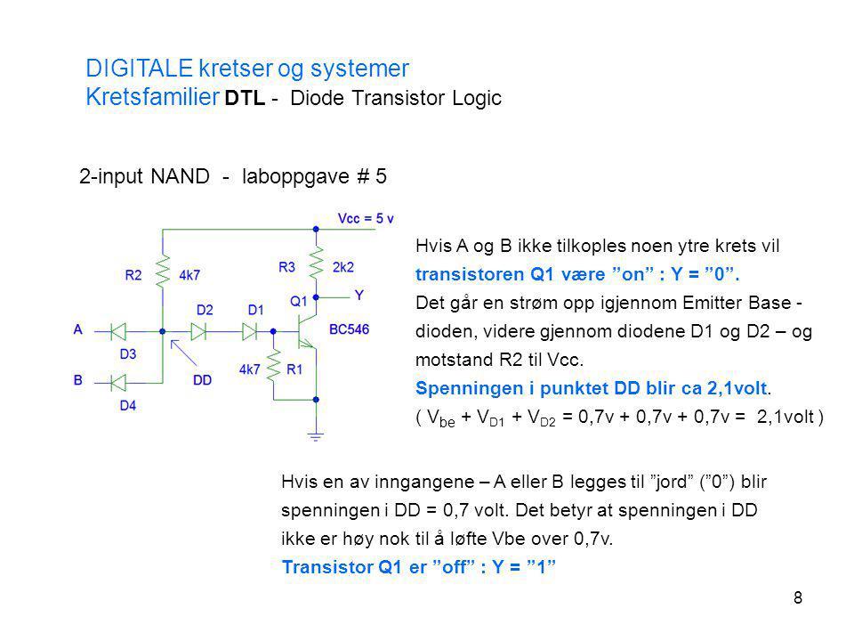 8 DIGITALE kretser og systemer Kretsfamilier DTL - Diode Transistor Logic 2-input NAND - laboppgave # 5 Hvis A og B ikke tilkoples noen ytre krets vil