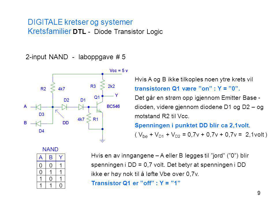 9 DIGITALE kretser og systemer Kretsfamilier DTL - Diode Transistor Logic 2-input NAND - laboppgave # 5 Hvis A og B ikke tilkoples noen ytre krets vil