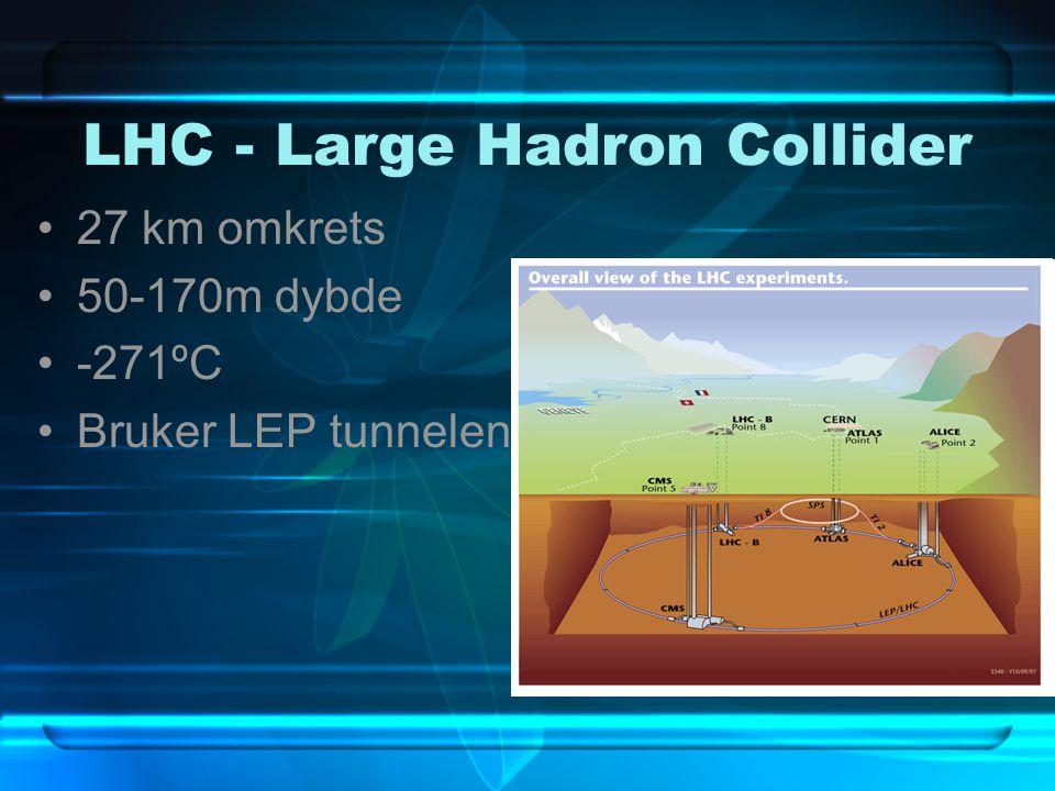 LHC - Large Hadron Collider 27 km omkrets 50-170m dybde -271ºC Bruker LEP tunnelen