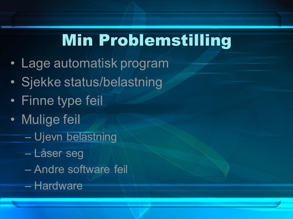 Min Problemstilling Lage automatisk program Sjekke status/belastning Finne type feil Mulige feil –Ujevn belastning –Låser seg –Andre software feil –Hardware