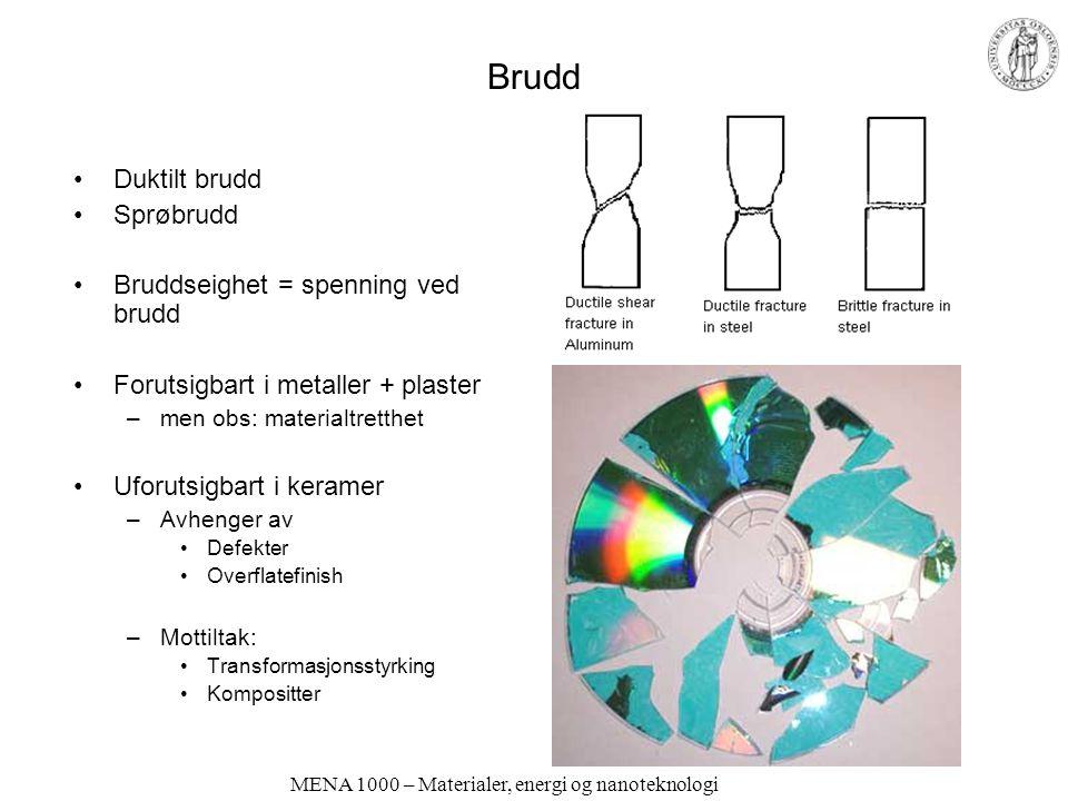 MENA 1000 – Materialer, energi og nanoteknologi Brudd Duktilt brudd Sprøbrudd Bruddseighet = spenning ved brudd Forutsigbart i metaller + plaster –men