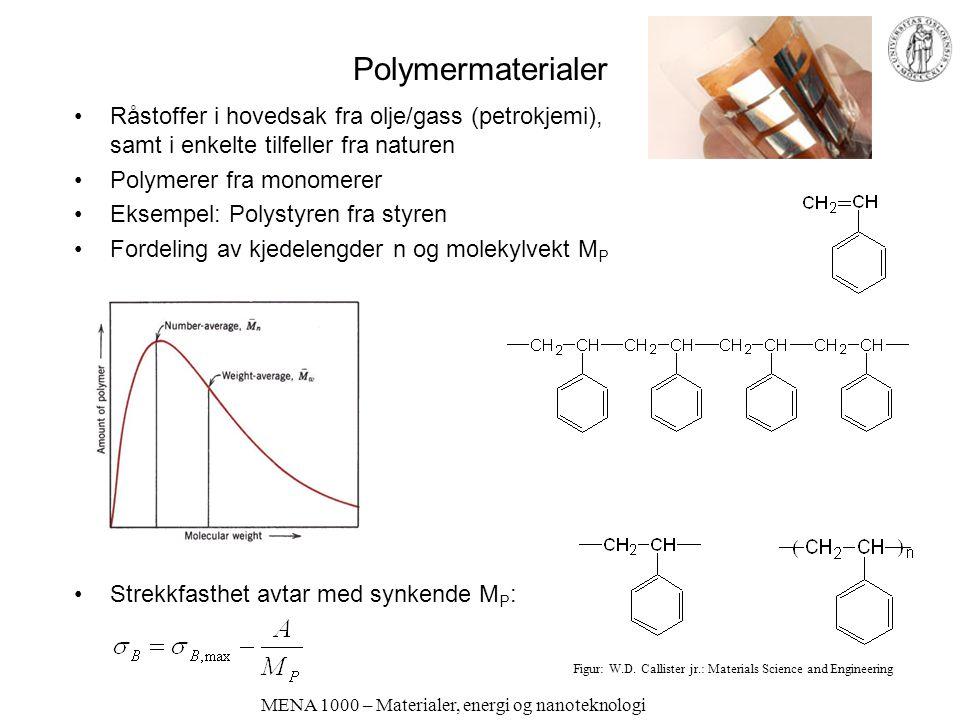 MENA 1000 – Materialer, energi og nanoteknologi Polymermaterialer Råstoffer i hovedsak fra olje/gass (petrokjemi), samt i enkelte tilfeller fra nature
