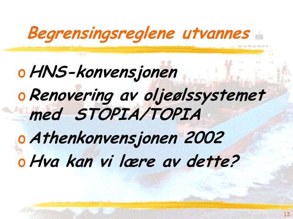 13 Begrensingsreglene utvannes oHNS-konvensjonen oRenovering av oljeølssystemet med STOPIA/TOPIA oAthenkonvensjonen 2002 oHva kan vi lære av dette?