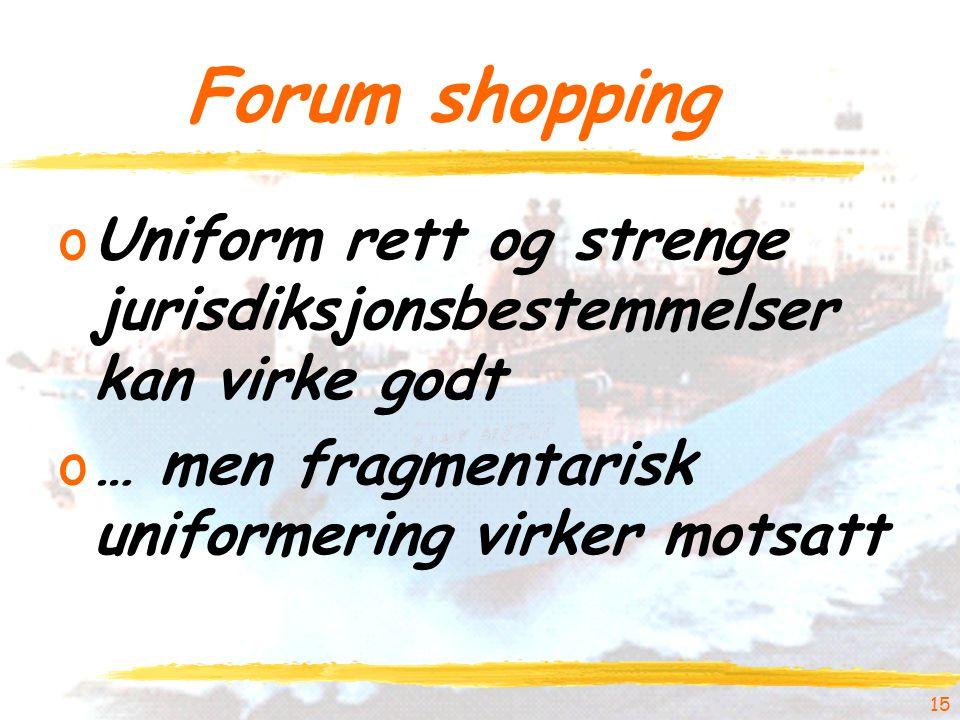 15 Forum shopping oUniform rett og strenge jurisdiksjonsbestemmelser kan virke godt o… men fragmentarisk uniformering virker motsatt