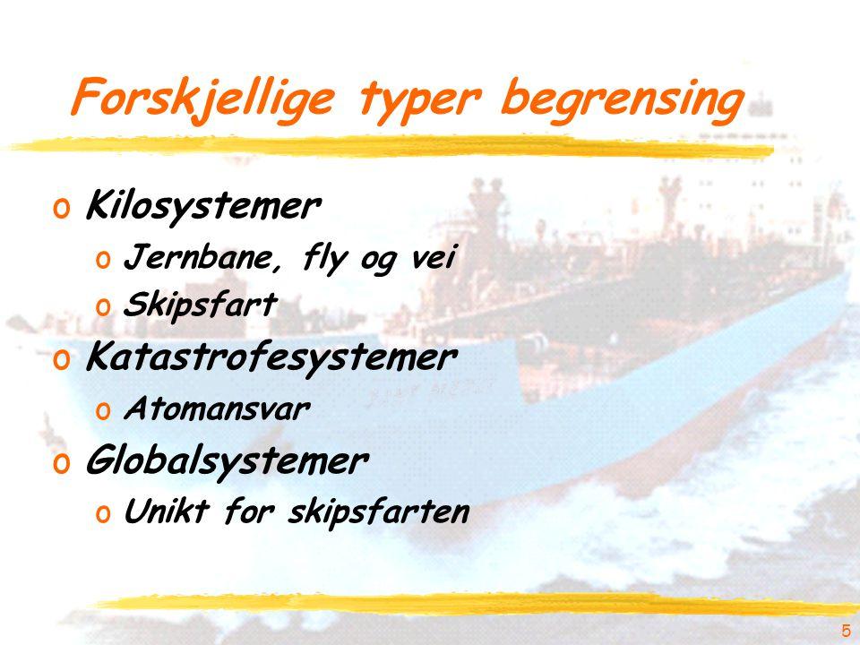 5 Forskjellige typer begrensing oKilosystemer oJernbane, fly og vei oSkipsfart oKatastrofesystemer oAtomansvar oGlobalsystemer oUnikt for skipsfarten
