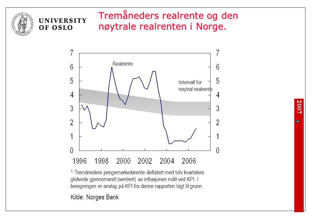 2007 Tremåneders realrente og den nøytrale realrenten i Norge. Intervall for nøytral realrente Realrente 1) Tremåneders pengemarkedsrente deflatert me