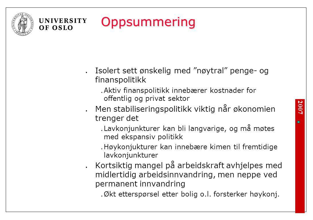 """2007 Oppsummering Isolert sett ønskelig med """"nøytral"""" penge- og finanspolitikk Aktiv finanspolitikk innebærer kostnader for offentlig og privat sektor"""