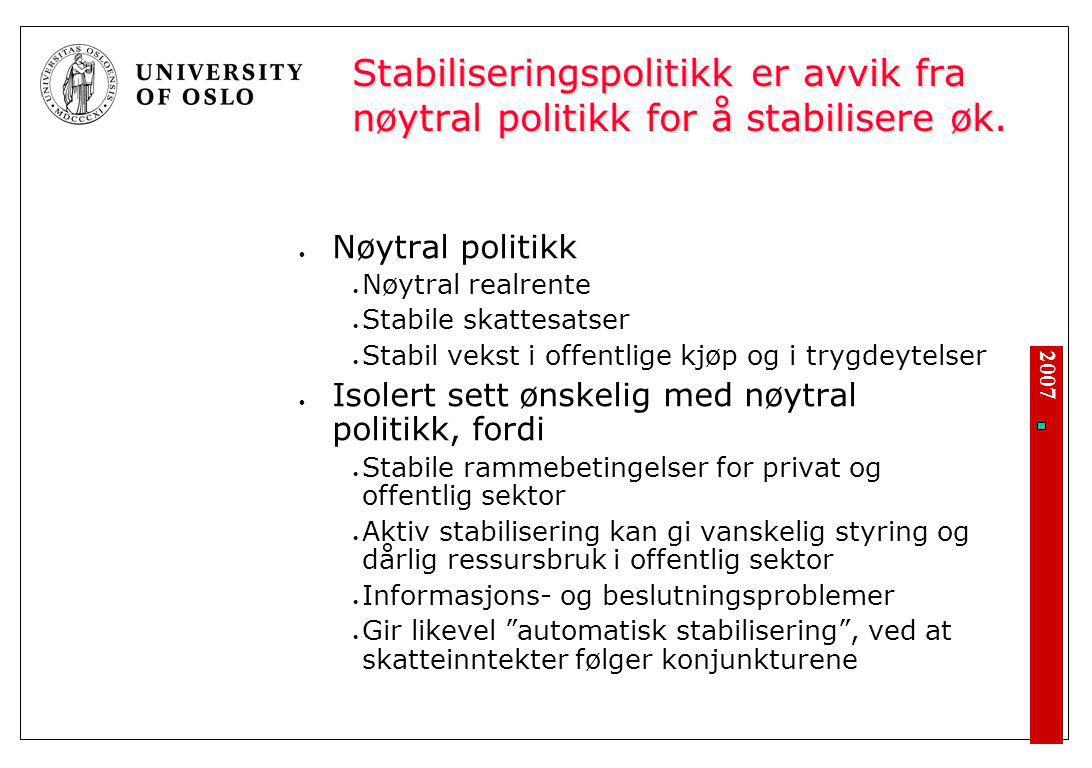 2007 Stabiliseringspolitikk er avvik fra nøytral politikk for å stabilisere øk. Nøytral politikk Nøytral realrente Stabile skattesatser Stabil vekst i