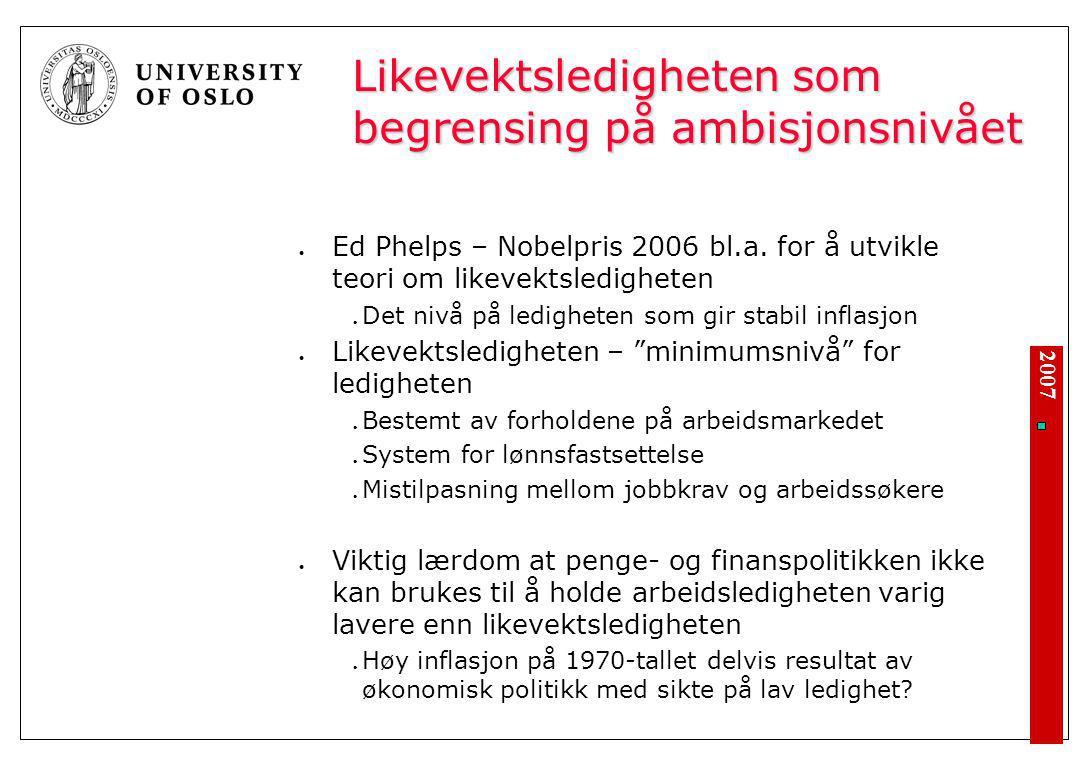 2007 Likevektsledigheten som begrensing på ambisjonsnivået Ed Phelps – Nobelpris 2006 bl.a. for å utvikle teori om likevektsledigheten Det nivå på led