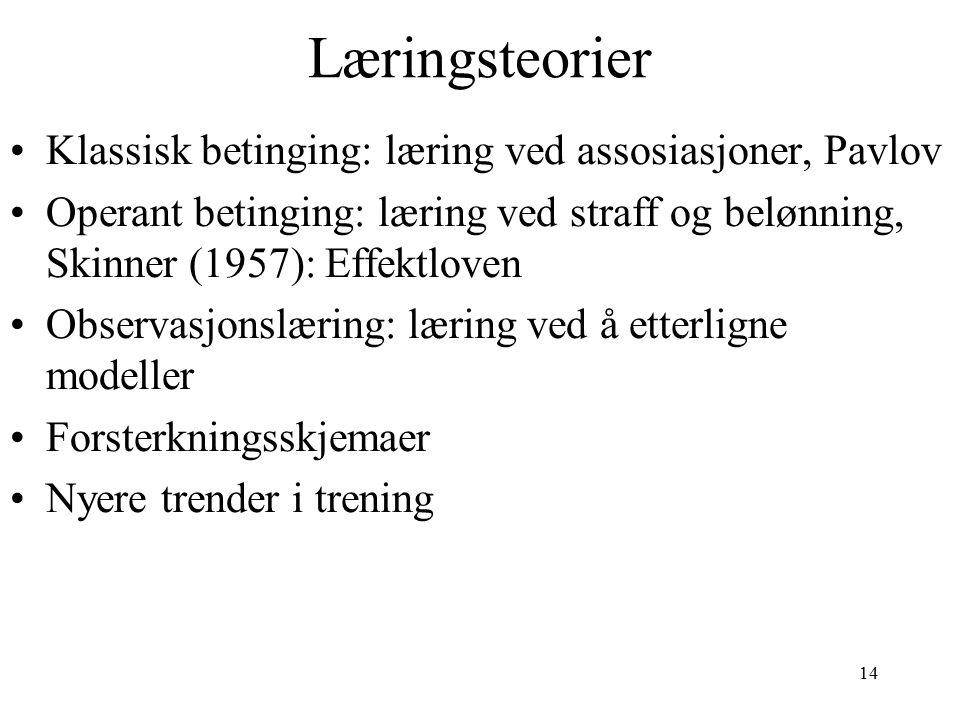 14 Læringsteorier Klassisk betinging: læring ved assosiasjoner, Pavlov Operant betinging: læring ved straff og belønning, Skinner (1957): Effektloven