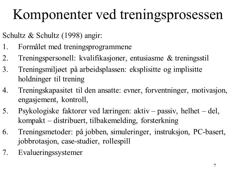 7 Komponenter ved treningsprosessen Schultz & Schultz (1998) angir: 1.Formålet med treningsprogrammene 2.Treningspersonell: kvalifikasjoner, entusiasme & treningsstil 3.Treningsmiljøet på arbeidsplassen: eksplisitte og implisitte holdninger til trening 4.Treningskapasitet til den ansatte: evner, forventninger, motivasjon, engasjement, kontroll, 5.Psykologiske faktorer ved læringen: aktiv – passiv, helhet – del, kompakt – distribuert, tilbakemelding, forsterkning 6.Treningsmetoder: på jobben, simuleringer, instruksjon, PC-basert, jobbrotasjon, case-studier, rollespill 7.Evalueringssystemer