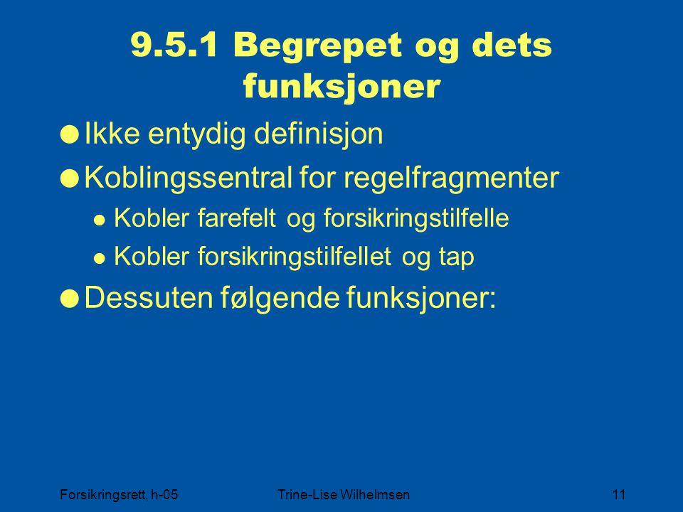 Forsikringsrett, h-05Trine-Lise Wilhelmsen11 9.5.1 Begrepet og dets funksjoner  Ikke entydig definisjon  Koblingssentral for regelfragmenter Kobler