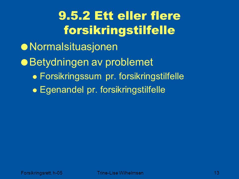 Forsikringsrett, h-05Trine-Lise Wilhelmsen13 9.5.2 Ett eller flere forsikringstilfelle  Normalsituasjonen  Betydningen av problemet Forsikringssum p