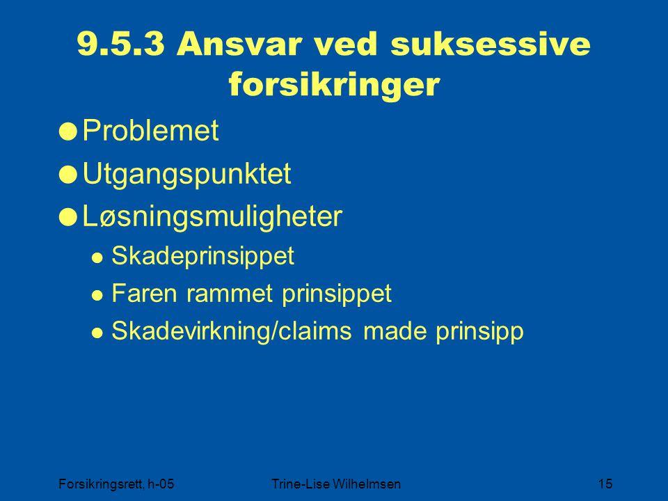 Forsikringsrett, h-05Trine-Lise Wilhelmsen15 9.5.3 Ansvar ved suksessive forsikringer  Problemet  Utgangspunktet  Løsningsmuligheter Skadeprinsippe