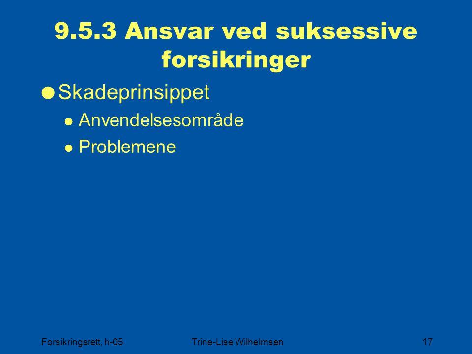 Forsikringsrett, h-05Trine-Lise Wilhelmsen17 9.5.3 Ansvar ved suksessive forsikringer  Skadeprinsippet Anvendelsesområde Problemene