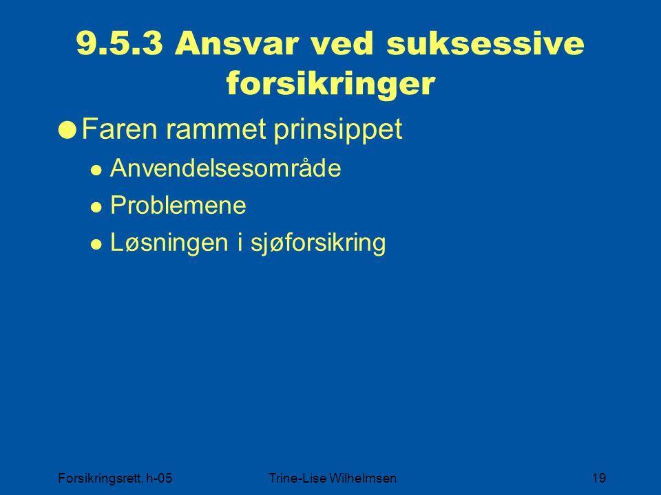 Forsikringsrett, h-05Trine-Lise Wilhelmsen19 9.5.3 Ansvar ved suksessive forsikringer  Faren rammet prinsippet Anvendelsesområde Problemene Løsningen