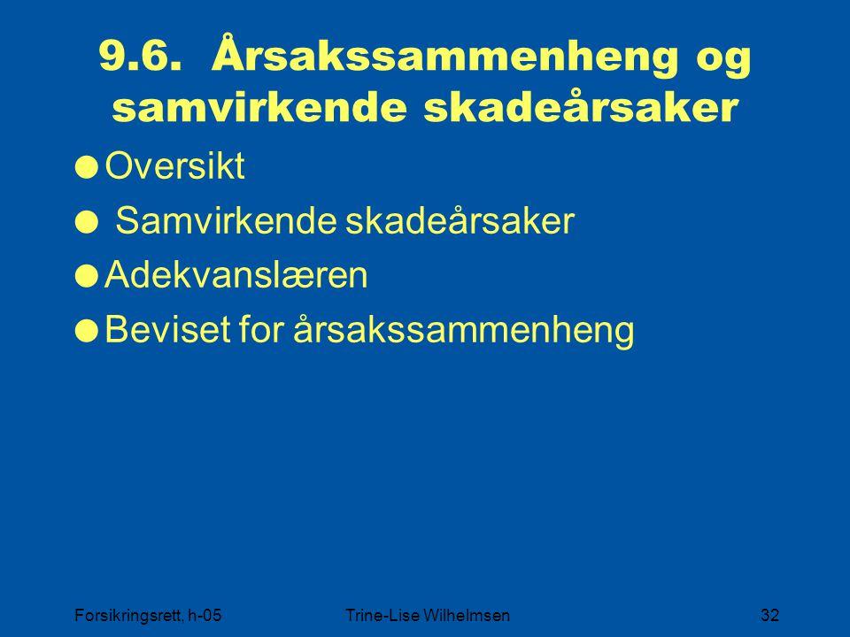Forsikringsrett, h-05Trine-Lise Wilhelmsen32 9.6. Årsakssammenheng og samvirkende skadeårsaker  Oversikt  Samvirkende skadeårsaker  Adekvanslæren 