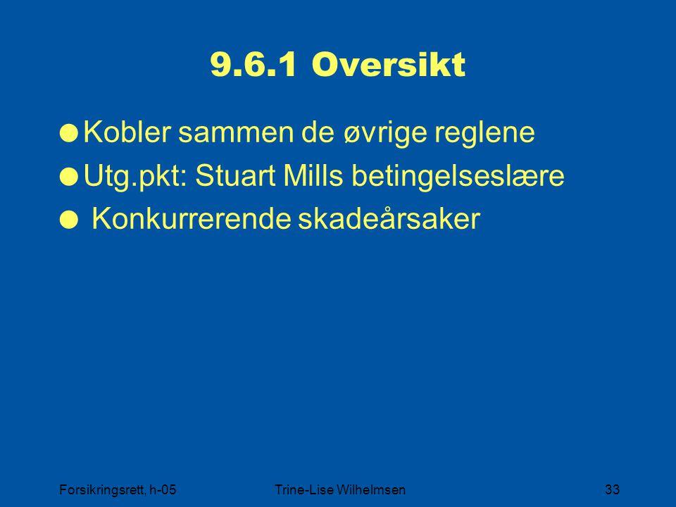 Forsikringsrett, h-05Trine-Lise Wilhelmsen33 9.6.1 Oversikt  Kobler sammen de øvrige reglene  Utg.pkt: Stuart Mills betingelseslære  Konkurrerende