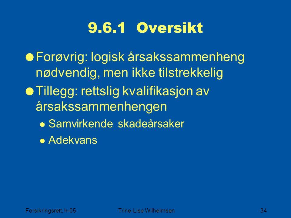 Forsikringsrett, h-05Trine-Lise Wilhelmsen34 9.6.1 Oversikt  Forøvrig: logisk årsakssammenheng nødvendig, men ikke tilstrekkelig  Tillegg: rettslig