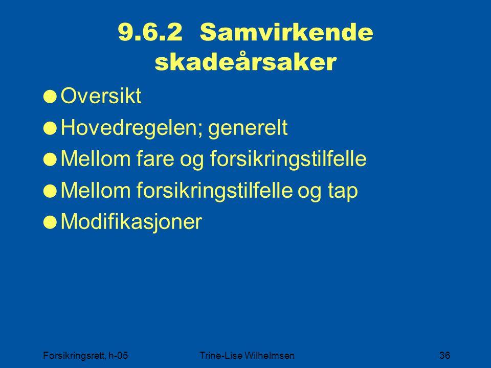 Forsikringsrett, h-05Trine-Lise Wilhelmsen36 9.6.2 Samvirkende skadeårsaker  Oversikt  Hovedregelen; generelt  Mellom fare og forsikringstilfelle 