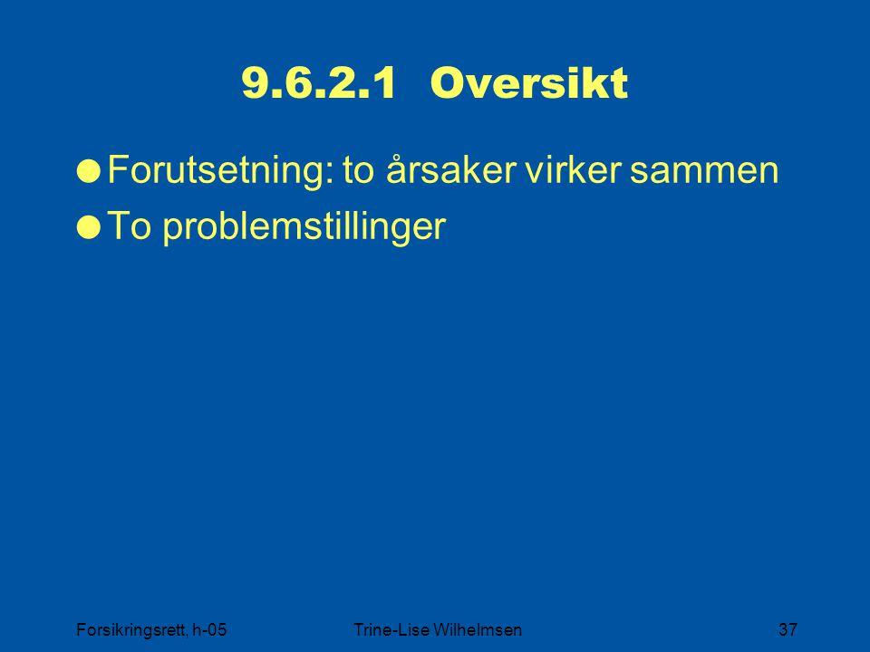 Forsikringsrett, h-05Trine-Lise Wilhelmsen37 9.6.2.1 Oversikt  Forutsetning: to årsaker virker sammen  To problemstillinger