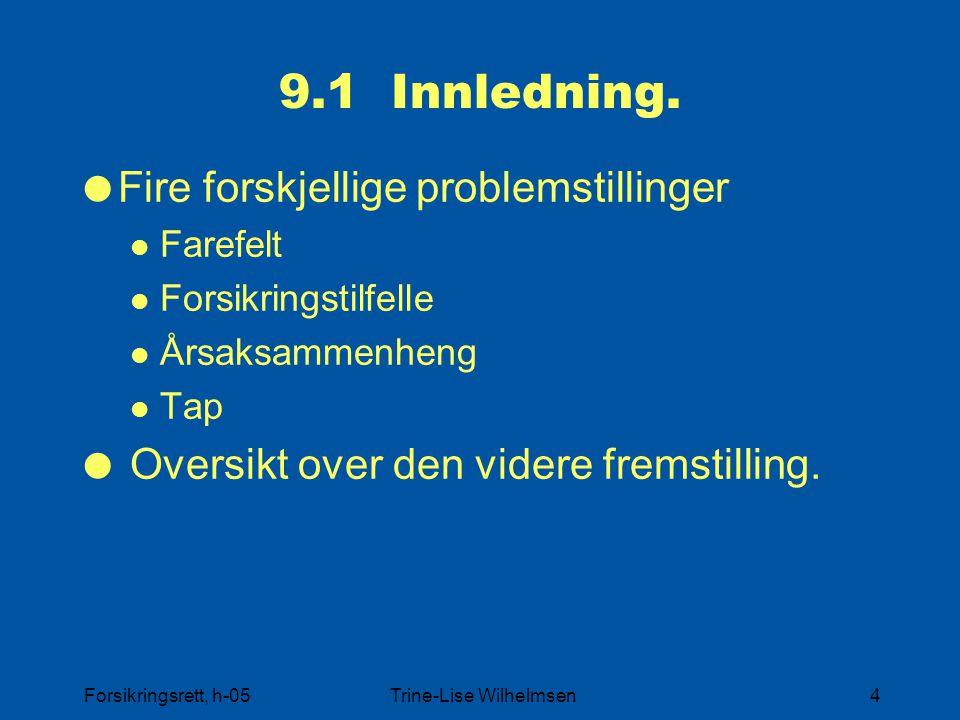 Forsikringsrett, h-05Trine-Lise Wilhelmsen4 9.1 Innledning.  Fire forskjellige problemstillinger Farefelt Forsikringstilfelle Årsaksammenheng Tap  O