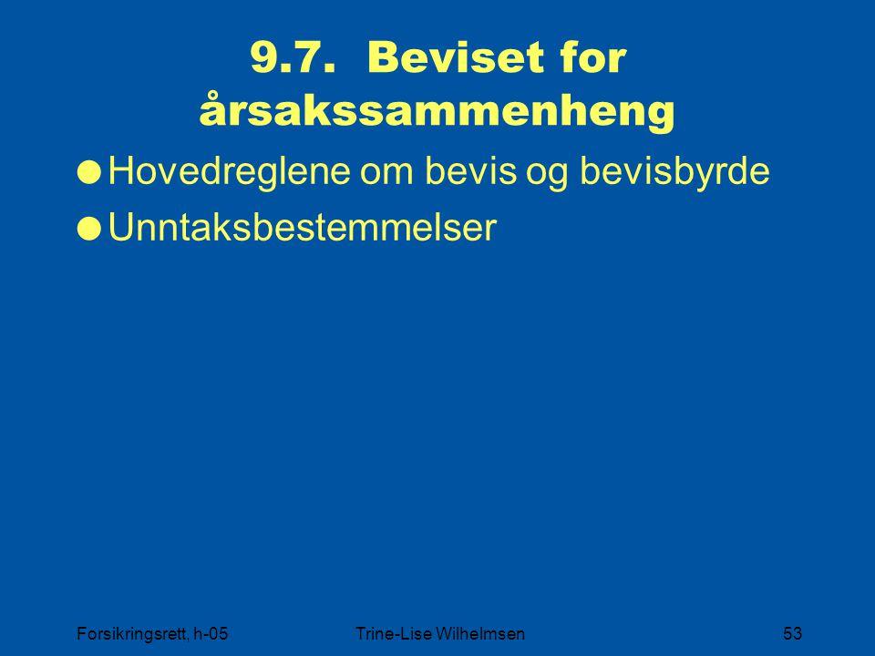 Forsikringsrett, h-05Trine-Lise Wilhelmsen53 9.7. Beviset for årsakssammenheng  Hovedreglene om bevis og bevisbyrde  Unntaksbestemmelser