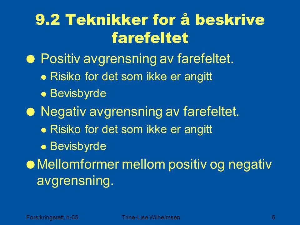 Forsikringsrett, h-05Trine-Lise Wilhelmsen6 9.2 Teknikker for å beskrive farefeltet  Positiv avgrensning av farefeltet. Risiko for det som ikke er an