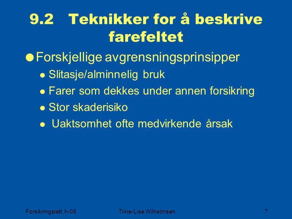 Forsikringsrett, h-05Trine-Lise Wilhelmsen7 9.2 Teknikker for å beskrive farefeltet  Forskjellige avgrensningsprinsipper Slitasje/alminnelig bruk Far
