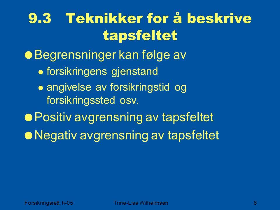 Forsikringsrett, h-05Trine-Lise Wilhelmsen8 9.3 Teknikker for å beskrive tapsfeltet  Begrensninger kan følge av forsikringens gjenstand angivelse av