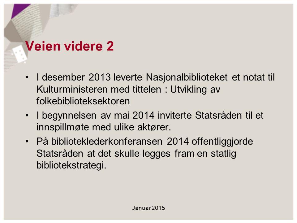 Veien videre 2 I desember 2013 leverte Nasjonalbiblioteket et notat til Kulturministeren med tittelen : Utvikling av folkebiblioteksektoren I begynnel
