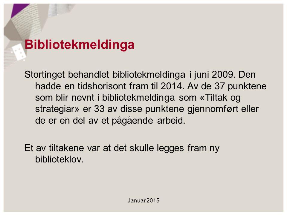 Bibliotekmeldinga Stortinget behandlet bibliotekmeldinga i juni 2009. Den hadde en tidshorisont fram til 2014. Av de 37 punktene som blir nevnt i bibl